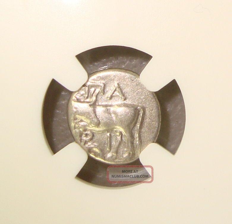 4th Cent Bc Mysia,  Parium Ancient Greek Gorgon Silver Hemidrachm Ngc Xf Edge Cut Coins: Ancient photo