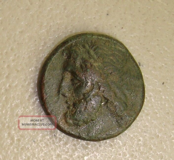 274 - 216 Bc Sicily,  Syracuse Poseidon / Trident & Dolphins Ancient Greek Ae21 Vf Coins: Ancient photo