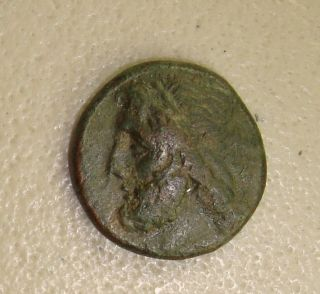 274 - 216 Bc Sicily,  Syracuse Poseidon / Trident & Dolphins Ancient Greek Ae21 Vf photo