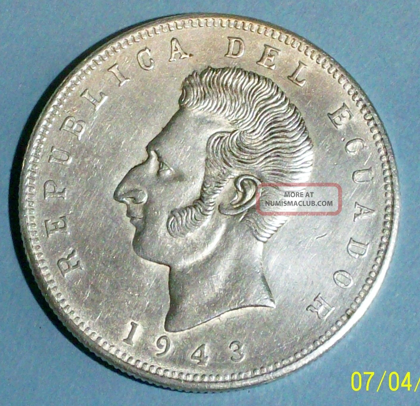 Ecuador 5 Sucres 1943 Mo Almost Uncirculated 0.  7200 Silver 0.  5787 Oz Coin South America photo