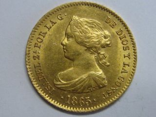 1865 Madrid 4 Escudos Elizabeth Ii Spain Spanish Gold Coin photo
