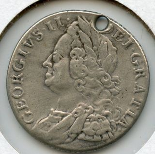 1758 Holed King George Ii F Fine Shilling Silver Coin Aa0549 photo