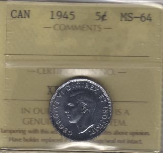 1945 Canada Five Cents (victory Nickel) Coin.  Iccs Ms - 64 photo