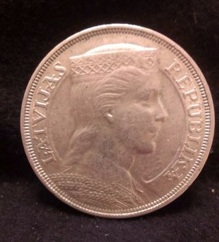 1931 Latvia Silver 5 Lats,  Large Crown Sized Coin,  Decent Grade,  Km - 9 photo