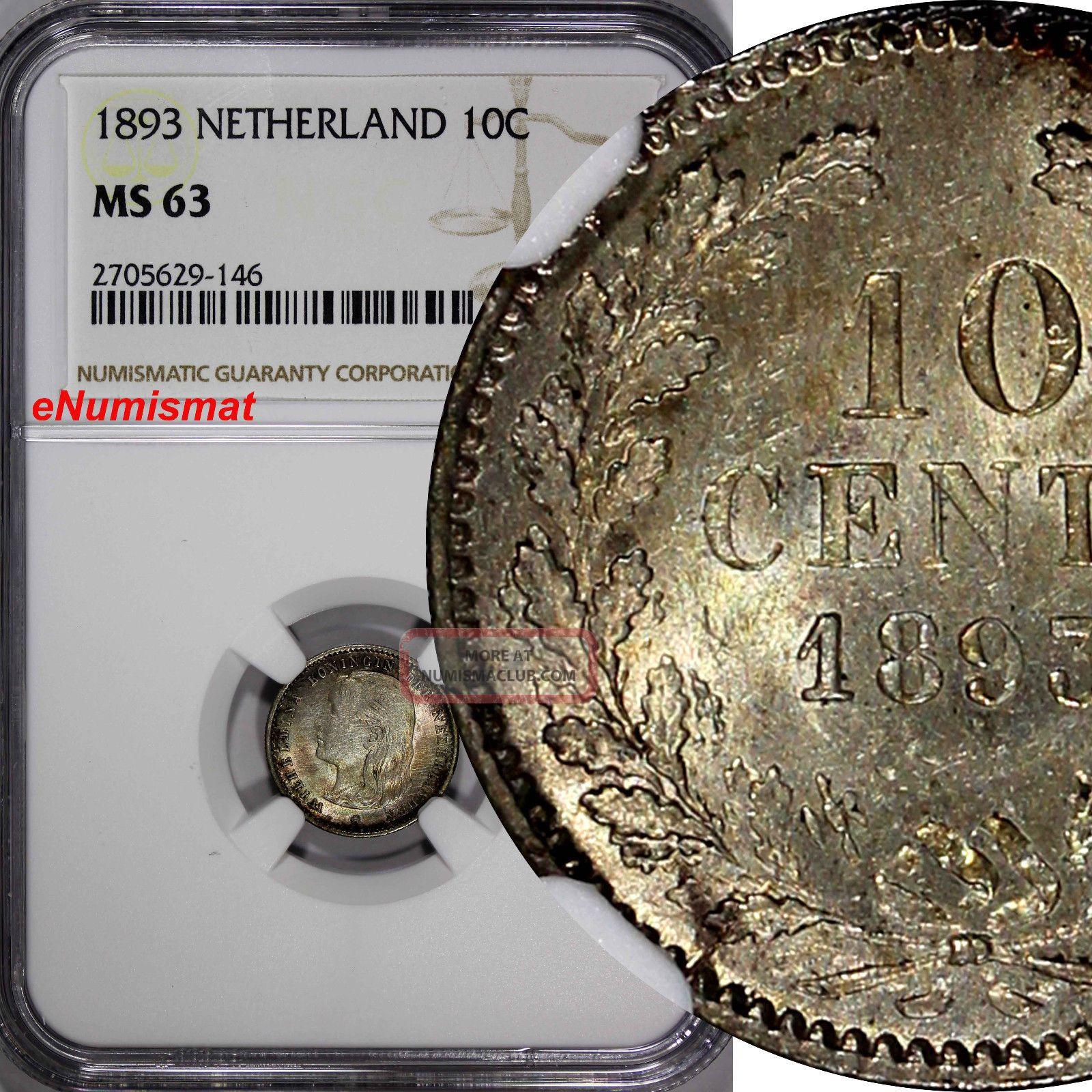 Netherlands Wilhelmina I Silver 1893 10 Cents Ngc Ms63 Young Head Km 116 Europe photo