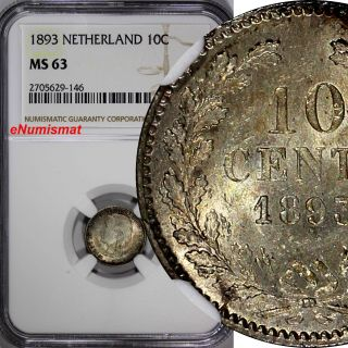 Netherlands Wilhelmina I Silver 1893 10 Cents Ngc Ms63 Young Head Km 116 photo