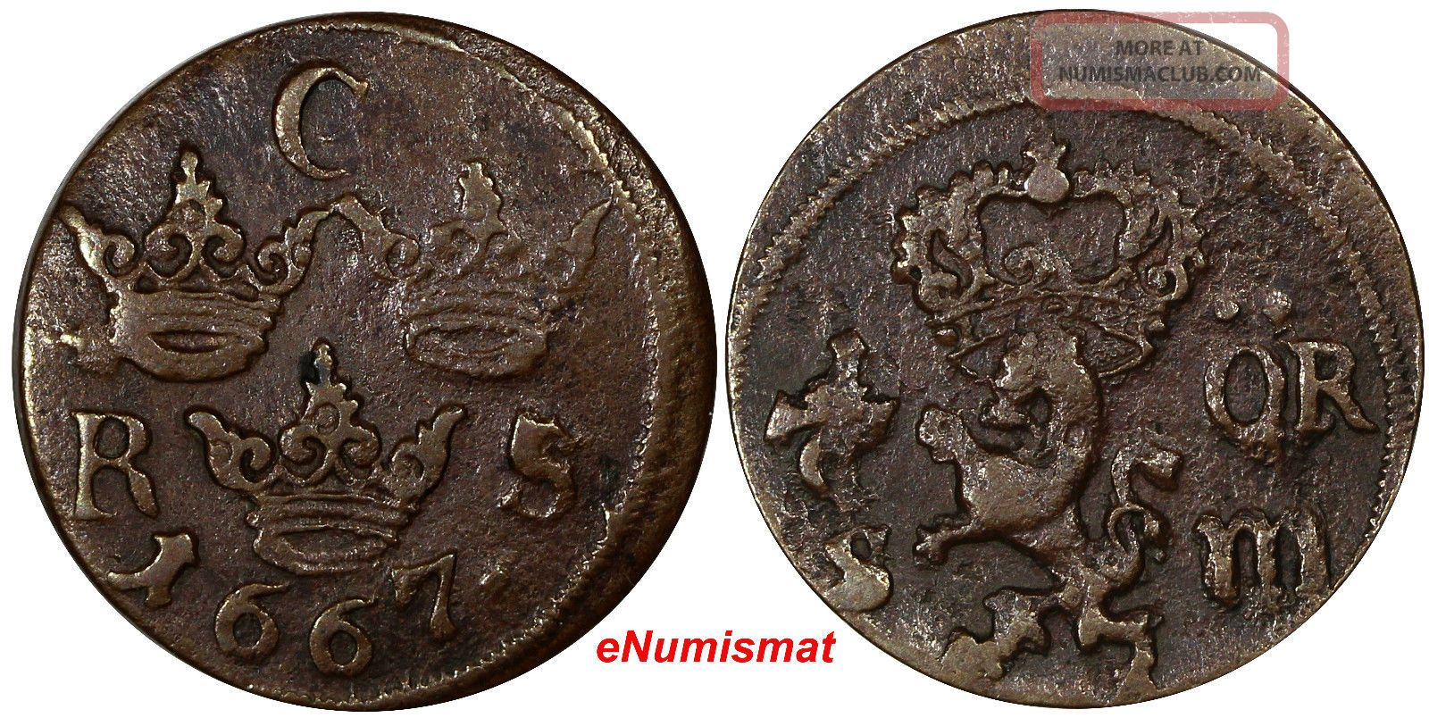 Sweden Karl Xi (1660 - 1697) Copper 1667 S.  M.  1/6 Ore,  Vf Cond Off Center Km 254 Europe photo