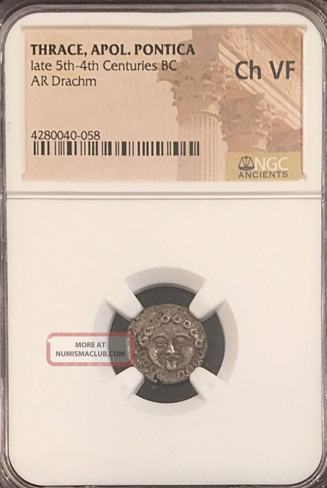 Apollonia Pontica 2.  66g Gorgon Ancient Greek Silver Drachm Ngc Choice Vf Coins: Ancient photo