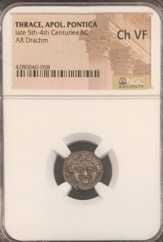 Apollonia Pontica 2.  66g Gorgon Ancient Greek Silver Drachm Ngc Choice Vf photo