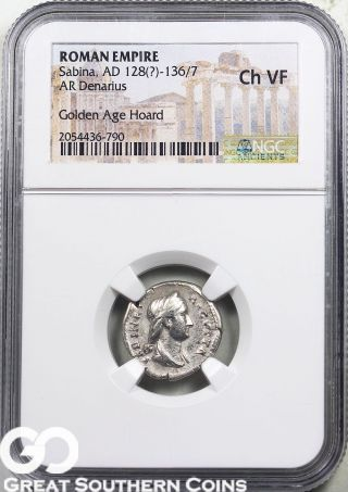 Roman Empire,  Ar Denarius,  Sabina,  Ad 128 (?) - 136/7 Ngc Ch Vf photo