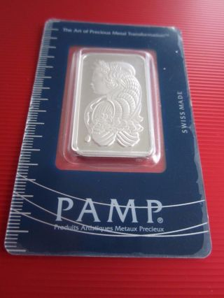 1 Troy Ounce Platinum Bar W/ Assay (pamp) - 999.  5 Fine photo