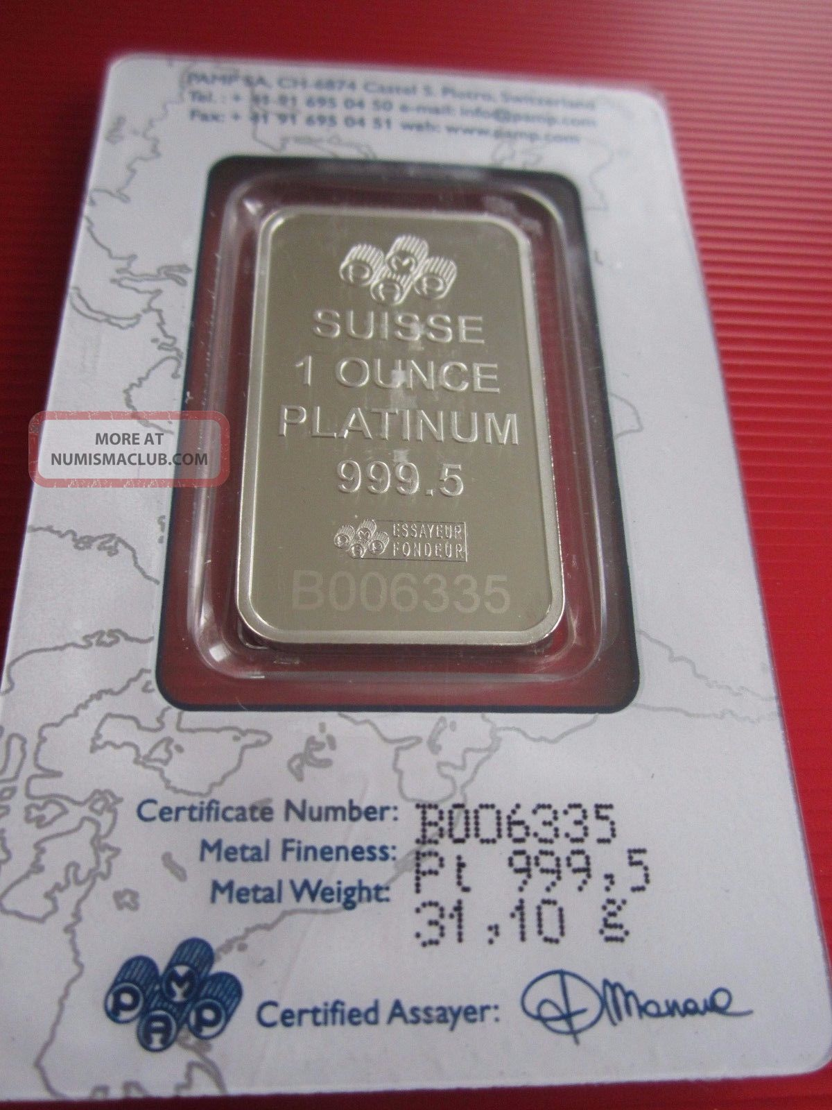1 Troy Ounce Platinum Bar W Assay Pamp 999 5 Fine