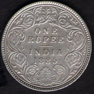 British India 1885 Victoria Empress One Rupee Silver Key Date Rare photo