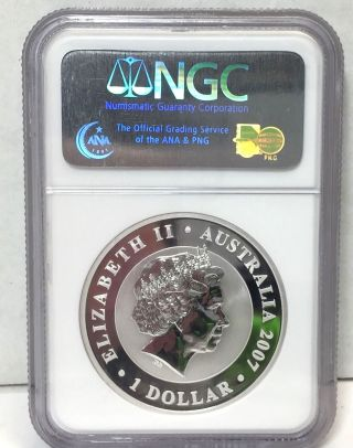 Ngs Ms6 First Year Issue 2007 Australia Koala,  1 Oz.  999 Silver,  Ngc Ms69 photo