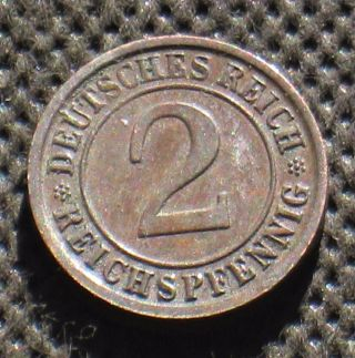 Old Coin Nazi Germany 2 Reichspfennig 1936 D Munich Swastika Third Reich photo
