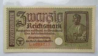 Nazi Germany 20 Reichsmark Ww2 Swastika 1933 - 45,  Unc Series L, photo