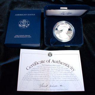 Us 2002 - W Silver American Eagle Proof Dollar Coin W/ Box,  Case & 1 Oz photo