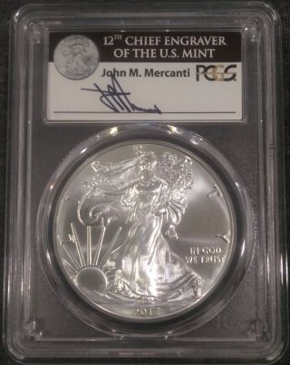 2017 - (w) $1 Silver Eagle Pcgs Ms70 First Strike John Mercanti Label 1 Of 1000 photo