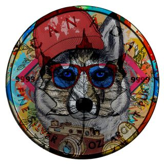 2017 1 Oz Ounce Silver Canadian Maple.  9999 Colorized Hipster Husky Coin photo