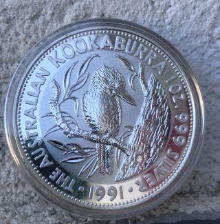 (perth) 1991 Silver Australian Kookaburra 1 Oz 999 Silver (cap) photo