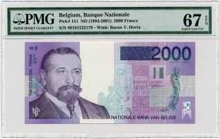 Belgium - 2000 Francs Nd/1994 P151 Pmg Gem Unc 67 Epq photo
