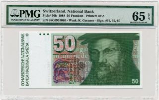 Switzerland - Schweiz - 50 Franken 1988 P56h Pmg Gem Unc 65 Epq photo