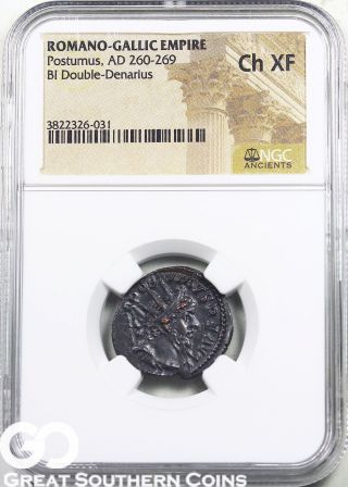 Romano - Gallic Bi Double - Denarius,  Postumus,  Ad 260 - 269,  Ngc Ch Xf Ancient Coin photo