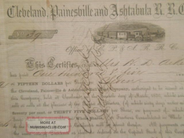 1856 Cleveland,  Painesville And Ashtabula Railroad Company Scrip Pre - Civil War Transportation photo