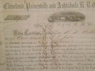 1856 Cleveland,  Painesville And Ashtabula Railroad Company Scrip Pre - Civil War photo