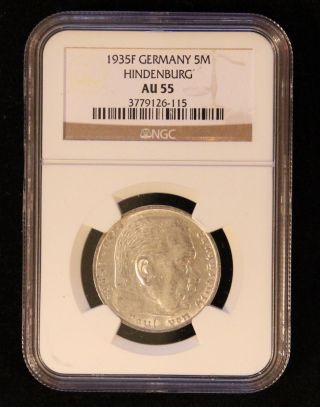 Ngc Au - 55 1935 - F Five Reichsmark Nazi Hindenburg Silver Coin 5 Marks No Swastika photo