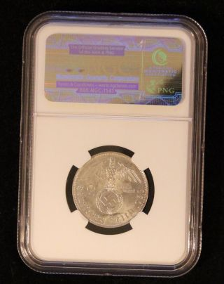 Ngc Ms - 63 1938 - B Nazi Germany Two Reichsmark Silver Coin Wwii Third Reich photo
