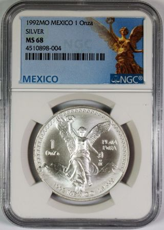 1992 Mexico Libertad 1 Onza 1 Oz.  Plata Pura Silver Coin Ngc Ms68 photo
