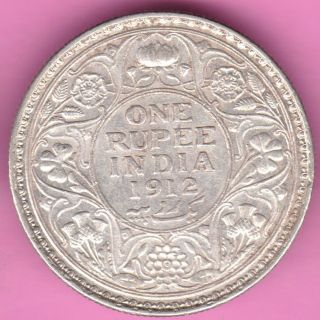 British India - 1912 - One Rupee - King George V - Rarest Silver Coin - 51 photo