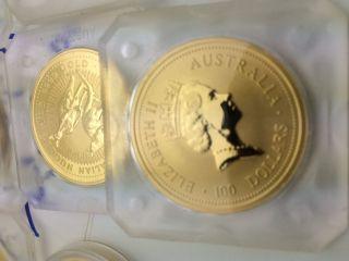 Gold Australia 1oz Gold Kangaroo 24kt.  9999 Fine Bu $100 Dollars Elizabeth Ii photo