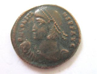 Ae - 22 (maiorina) Of Constans From Cyzicus Rv.  Soldier With Barbarian photo