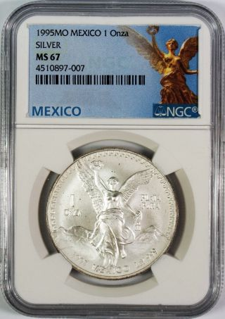 1995 Mexico Libertad 1 Onza 1 Oz.  Plata Pura Silver Coin Ngc Ms67 photo