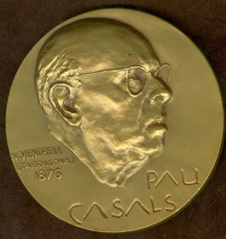 1968 Spanish Medal Issued To Honor Conductor,  Cellist,  Pablo Casals photo