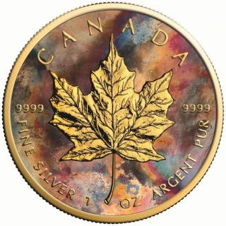 2017 1 Oz Silver Maple Leaf Aquarelle Coin.  - 24k Gold Gilded And photo