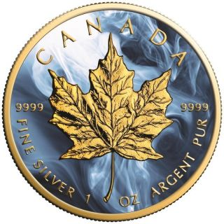 2017 1 Oz Silver Maple Leaf Blue Magic Coin.  - With 24k Gold Gilded,  Box And photo