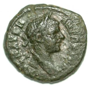 Roman Provincial Bronze Coin Caracalla Coiled Serpent Nikopolis Ae16 photo