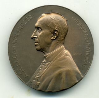 Belgium Cardinal Mercier Bronze Medal By J.  Jourdain 1914 Wwi photo