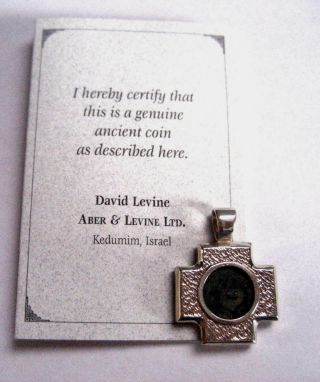 Ancient Widows Mite Coin Aber & Levine Sterling Silver Cross Pendant photo