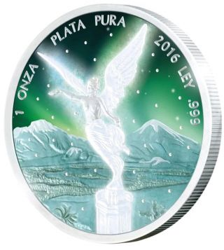 Mexico 2016 1oz Frozen Libertad Aurora Rhodium Fine Silver Coin With Case photo