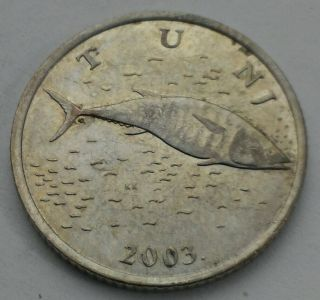 Croatia 2 Kine 2003.  Km 10 Two Dollars Coin.  Fish.  Bluefin Tuna. photo