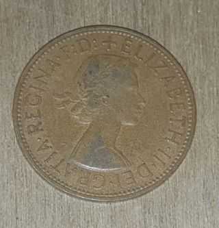 Vintage 1963 British Coin,  Bronze One Penny,  Queen Elizabeth Ii 18 photo