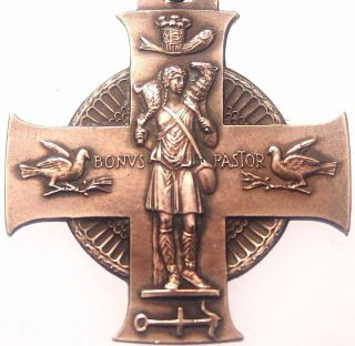 The Good Shepherd & Saint Cecilia - Exquisite Antique Bronze Cross Medal Pendant photo