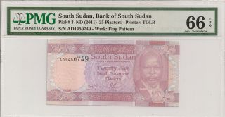 P - 3 2011 25 Piasters,  Bank Of South Sudan,  Pmg 66epq photo