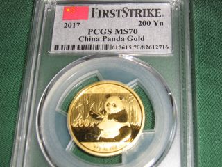 2017 China Gold Panda 200 Yuan Pcgs Ms70 First Strike (flag Label) photo