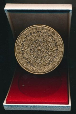 Mexico: 1978 Large 75mm Mayan Art Calendar Medal,  250g Cased.  Scarce. photo
