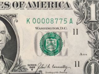 1969b $1 One Dollar Dallas Banknote,  Uncirculated,  Low Serial Number K00008775a photo